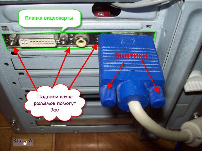 Подключенный кабель монитора