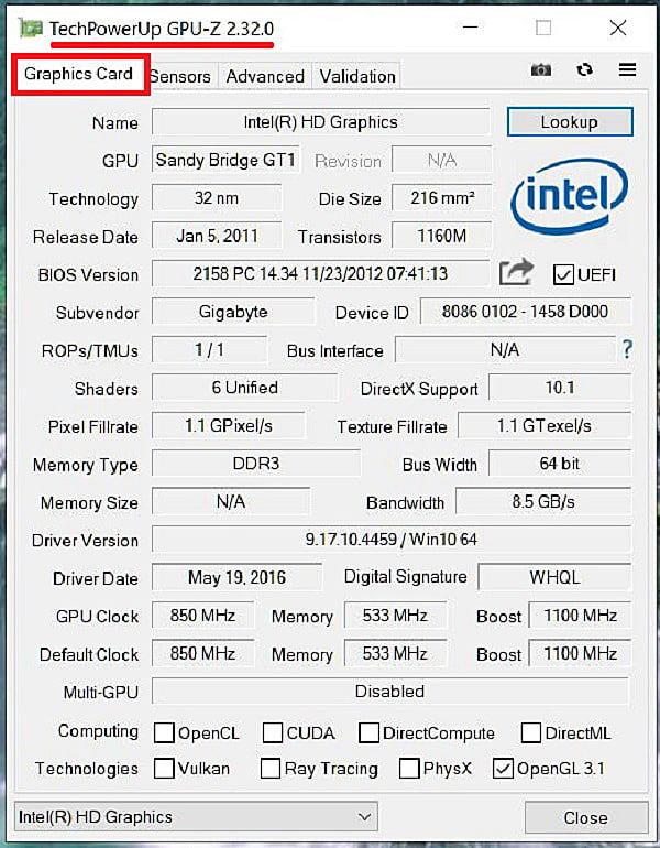 Характеристика видеокарты в программе GPU-Z
