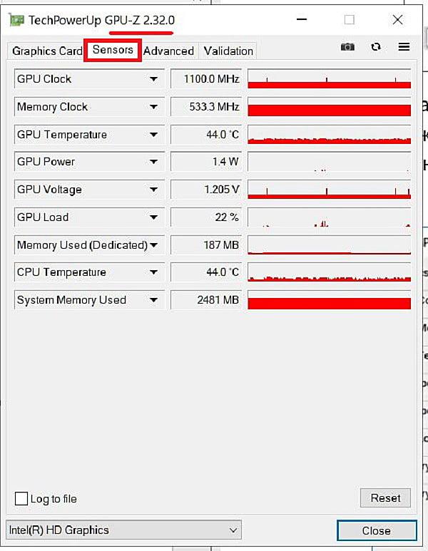 Графики работы видеокарты в программе GPU-Z