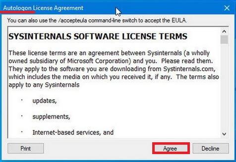 Принятие условия лицензии в программе Autologon
