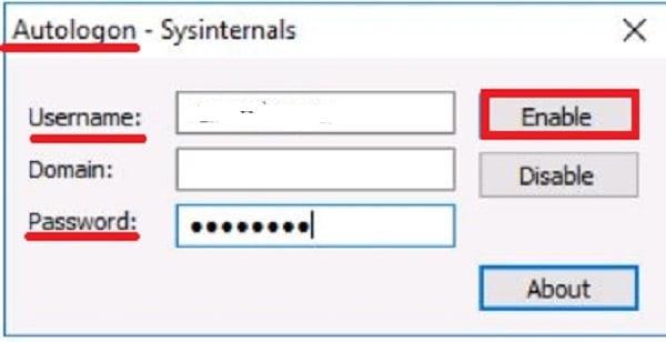 Ввод текущего пароля и нажатие кнопки Enable
