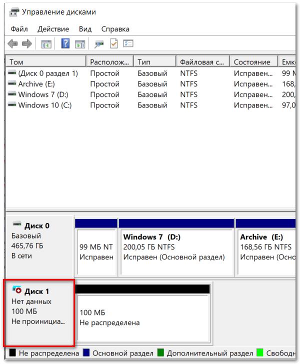 Появление нового созданного диска в окне Управление дисками