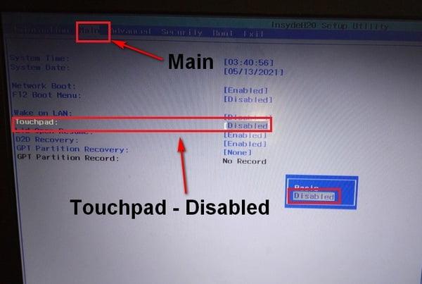 вкладка Main, пункт touchpad