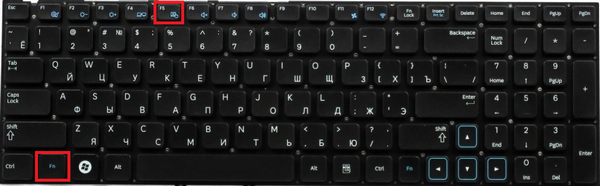 клавиши Fn + F5 для отключения тачпада на Samsung и Toshiba