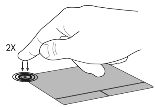 двойное нажатие на левый верхний угол тачпада для его отключения для HP