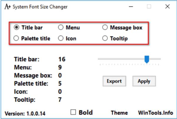 Рабочее окно программы Font Size Changer